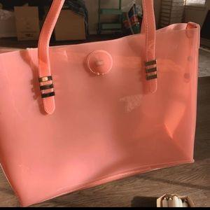 Beautiful large pink see-thru tote bag